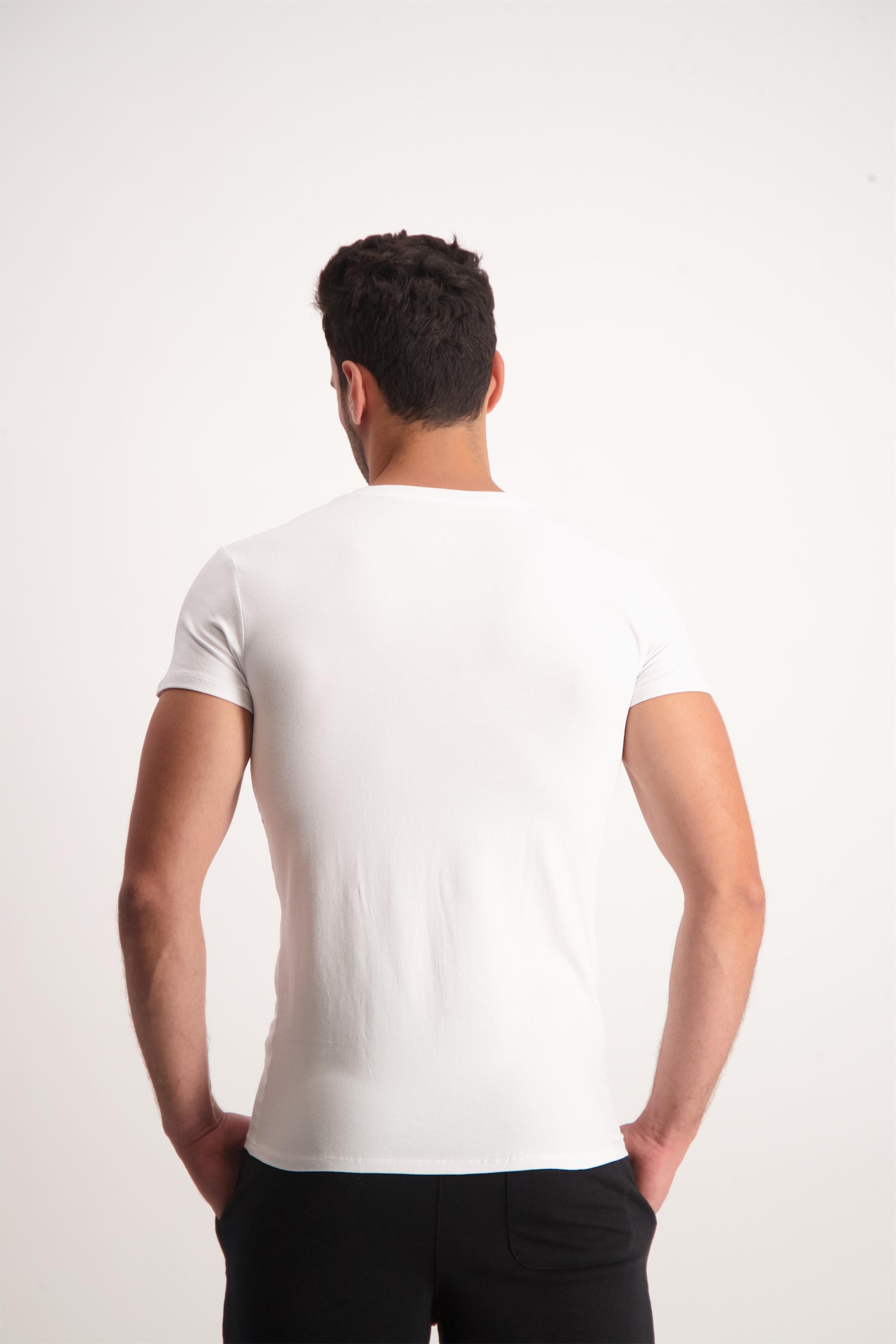 חולצת טי כותנה לייקרה לגבר LEE COOPER צוואר וי